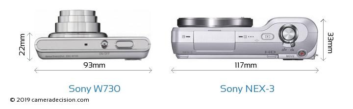 Sony W730 vs Sony NEX-3 Camera Size Comparison - Top View