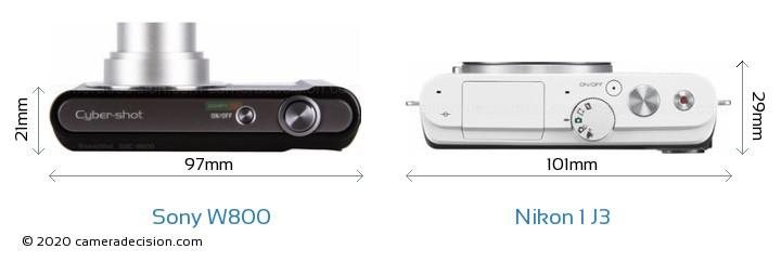 Sony W800 vs Nikon 1 J3 Camera Size Comparison - Top View