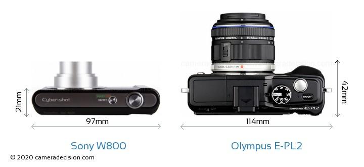Sony W800 vs Olympus E-PL2 Camera Size Comparison - Top View