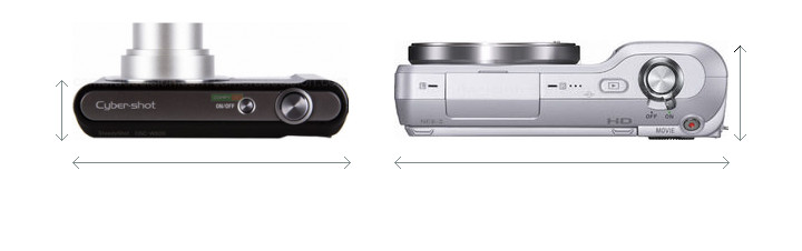 Sony W800 vs Sony NEX-3 Camera Size Comparison - Top View