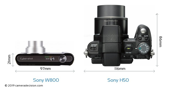 Sony W800 vs Sony H50 Camera Size Comparison - Top View