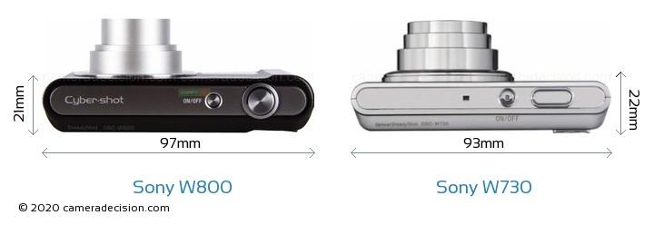 Sony W800 vs Sony W730 Camera Size Comparison - Top View