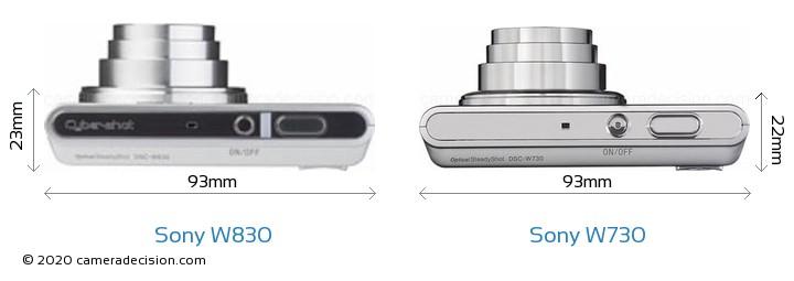 Sony W830 vs Sony W730 Camera Size Comparison - Top View