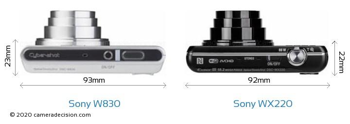 Sony W830 vs Sony WX220 Camera Size Comparison - Top View