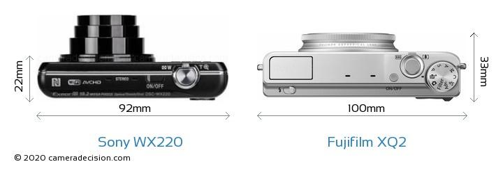 Sony WX220 vs Fujifilm XQ2 Camera Size Comparison - Top View