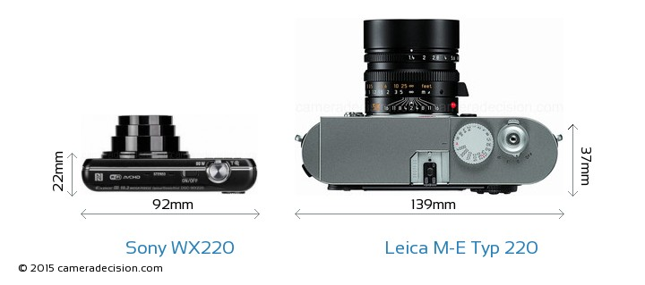 Sony WX220 vs Leica M-E Typ 220 Camera Size Comparison - Top View
