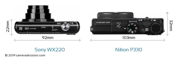 Sony WX220 vs Nikon P330 Camera Size Comparison - Top View