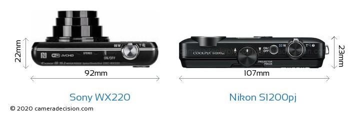 Sony WX220 vs Nikon S1200pj Camera Size Comparison - Top View