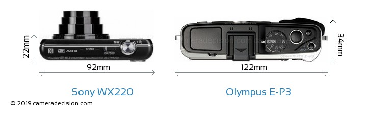 Sony WX220 vs Olympus E-P3 Camera Size Comparison - Top View
