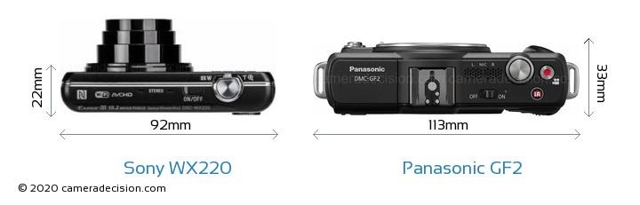 Sony WX220 vs Panasonic GF2 Camera Size Comparison - Top View