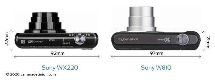 Sony WX220 vs Sony W810 Camera Size Comparison - Top View