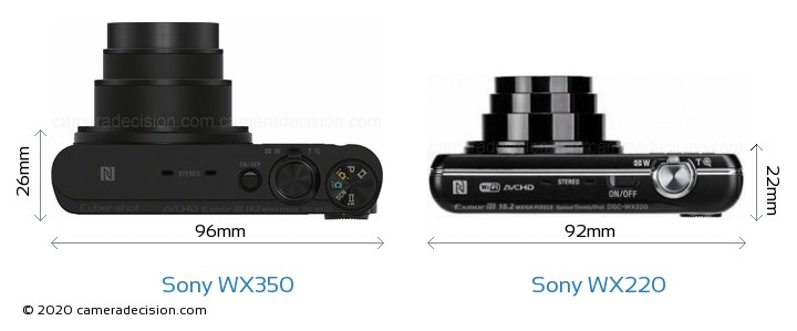 Sony WX350 vs Sony WX220 Camera Size Comparison - Top View