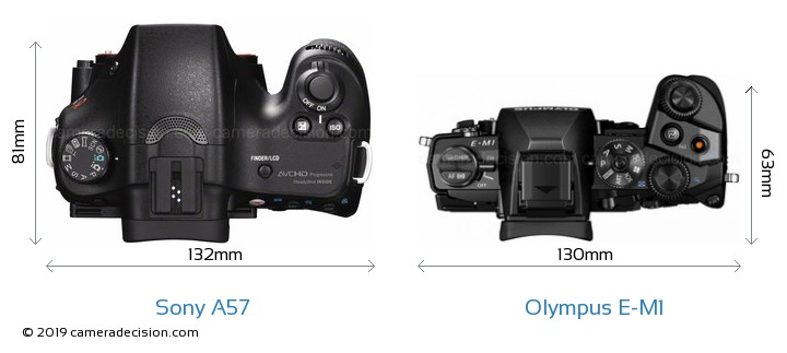 Sony A57 vs Olympus E-M1 Camera Size Comparison - Top View