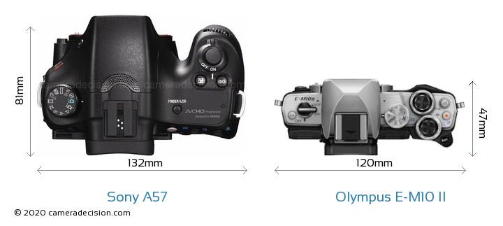 Sony A57 vs Olympus E-M10 II Camera Size Comparison - Top View