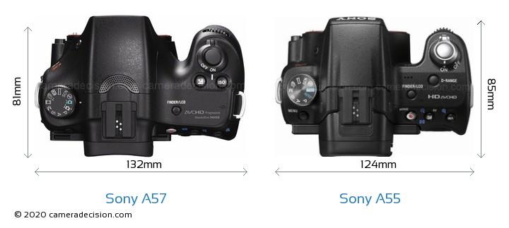 Sony A57 vs Sony A55 Camera Size Comparison - Top View