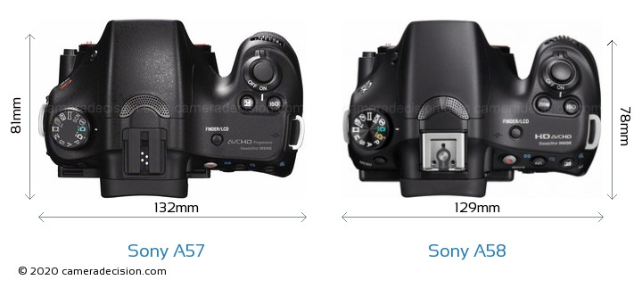 Sony A57 vs Sony A58 Camera Size Comparison - Top View