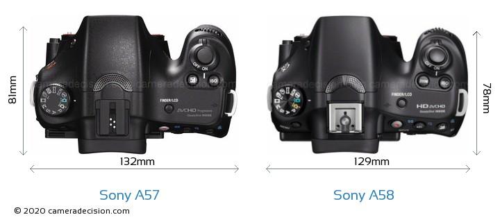 Sony A57 vs Sony A58 Camera Size Comparison - Top View