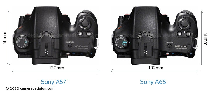 Sony A57 vs Sony A65 Camera Size Comparison - Top View