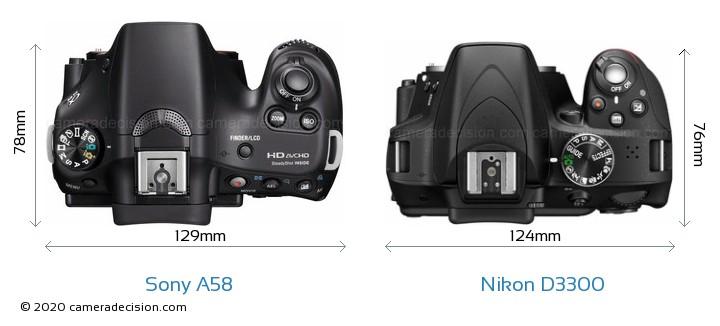 Sony A58 vs Nikon D3300 Camera Size Comparison - Top View