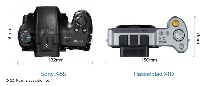 Sony A65 vs Hasselblad X1D Camera Size Comparison - Top View