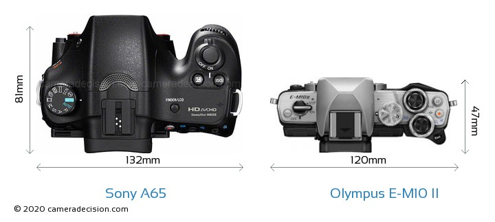 Sony A65 vs Olympus E-M10 II Camera Size Comparison - Top View