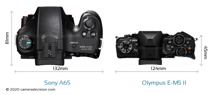 Sony A65 vs Olympus E-M5 II Camera Size Comparison - Top View