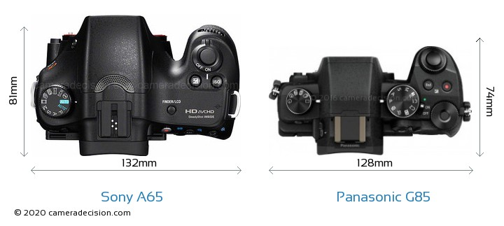 Sony A65 vs Panasonic G85 Camera Size Comparison - Top View