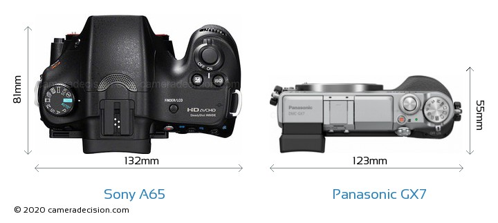 Sony A65 vs Panasonic GX7 Camera Size Comparison - Top View