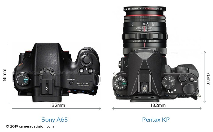Sony A65 vs Pentax KP Camera Size Comparison - Top View