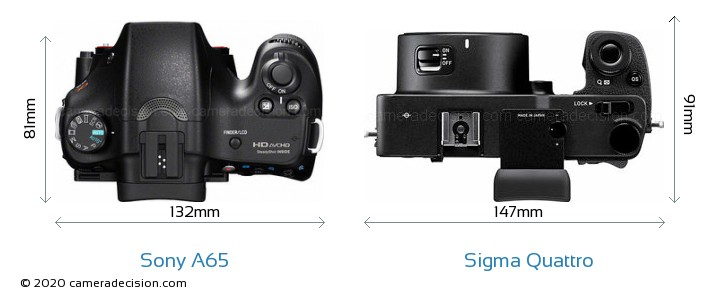 Sony A65 vs Sigma Quattro Camera Size Comparison - Top View