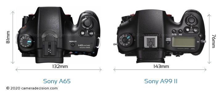 Sony A65 vs Sony A99 II Camera Size Comparison - Top View