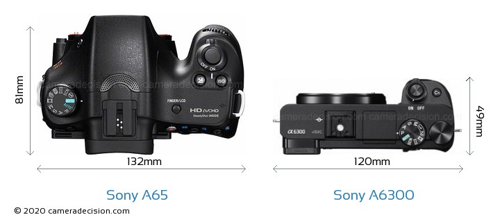 Sony A65 vs Sony A6300 Camera Size Comparison - Top View