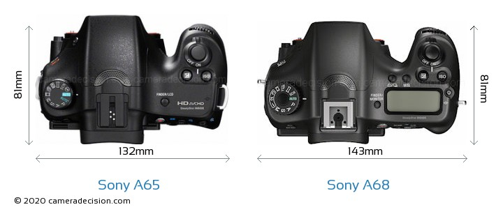 Sony A65 vs Sony A68 Camera Size Comparison - Top View