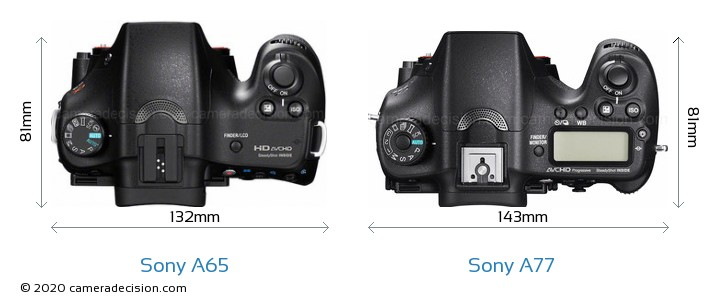 Sony A65 vs Sony A77 Camera Size Comparison - Top View