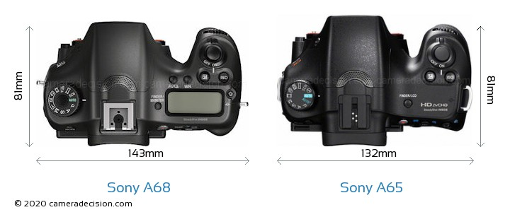 Sony A68 vs Sony A65 Camera Size Comparison - Top View