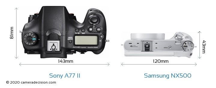 Sony A77 II vs Samsung NX500 Camera Size Comparison - Top View