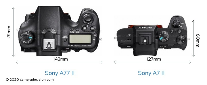 Sony A77 II vs Sony A7 II Camera Size Comparison - Top View