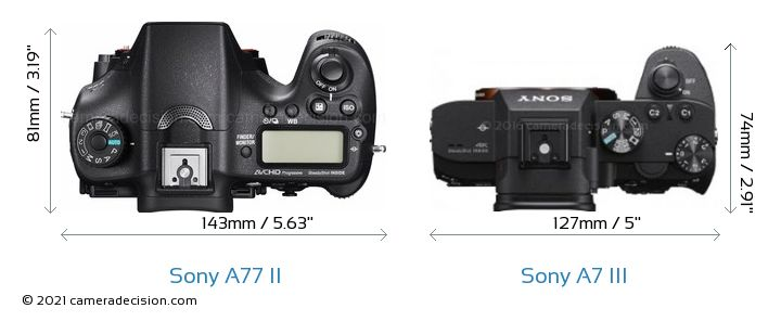 Sony A77 II vs Sony A7 III Camera Size Comparison - Top View