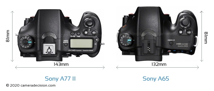 Sony A77 II vs Sony A65 Camera Size Comparison - Top View