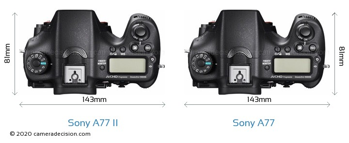 Sony A77 II vs Sony A77 Camera Size Comparison - Top View