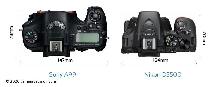 Sony A99 vs Nikon D5500 Camera Size Comparison - Top View