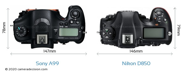Sony A99 vs Nikon D850 Camera Size Comparison - Top View