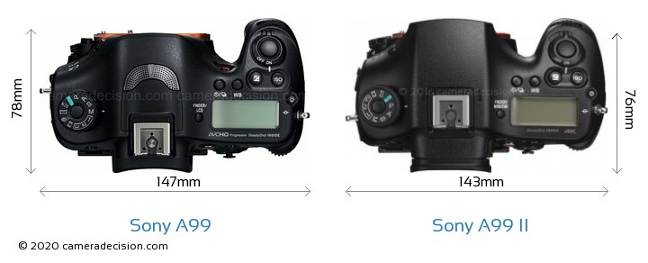 Sony A99 vs Sony A99 II Camera Size Comparison - Top View