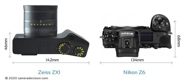 Zeiss ZX1 vs Nikon Z6 Camera Size Comparison - Top View