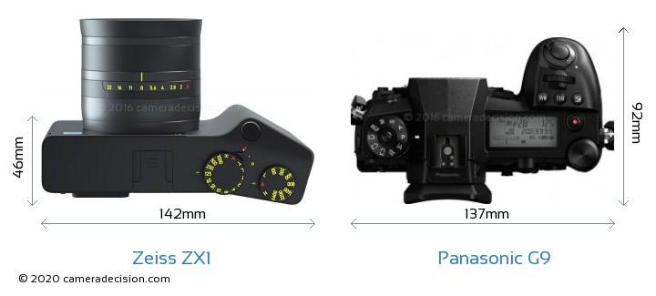 Zeiss ZX1 vs Panasonic G9 Camera Size Comparison - Top View